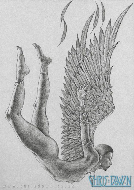 Fallen Angel (Pen & Ink)